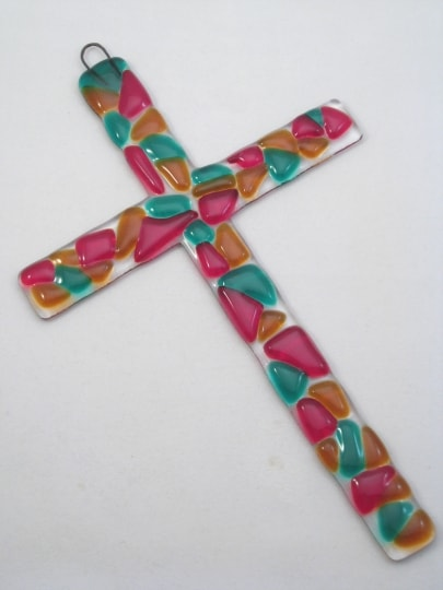Fused Glass Cross - Jewel