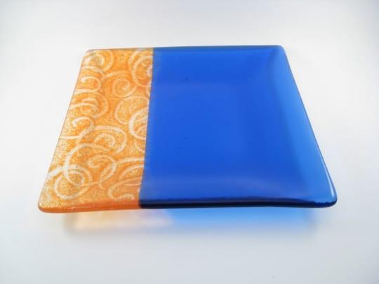 Fused Glass Part Sheed Orange Swirl