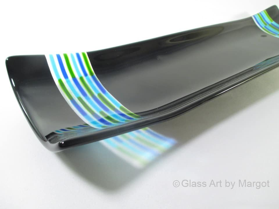 Fused Glass Channel Tray Spring Closeup