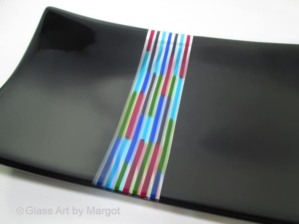 Fused Glass Tray Jolly Rancher Closeup