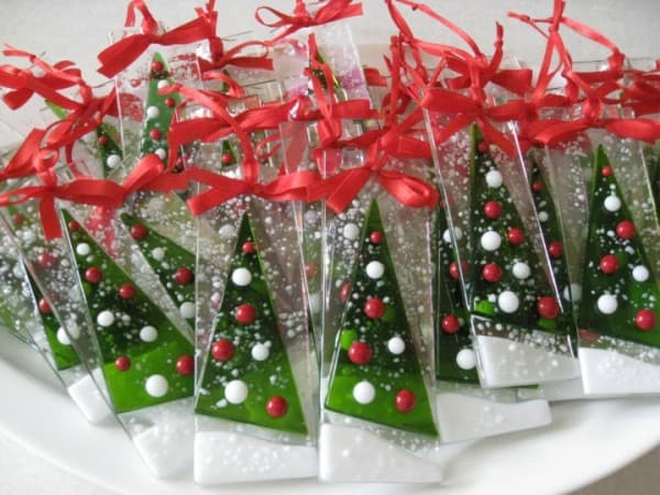 Fused Glass Christmas Tree Ornaments