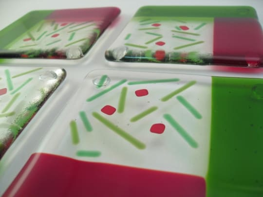 fused glass holiday coasters