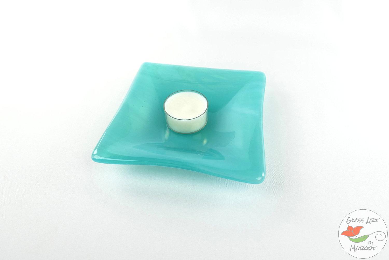 Art Glass Dish Wispy Aqua Blue 5 Inch Square Fused Glass Plate Glass Art By Margot