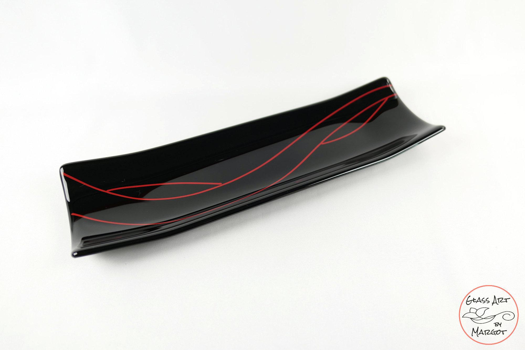 Christmas Red Stringer Black Fused Glass Channel Plate Rectangular Serving Tray Platter Glass Art By Margot